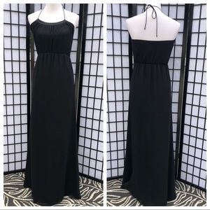 Trina Turk Black Silk Halter Maxi Dress